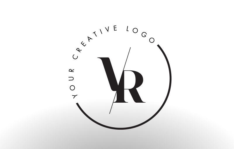 矢量切割风格的字母vr标志设计