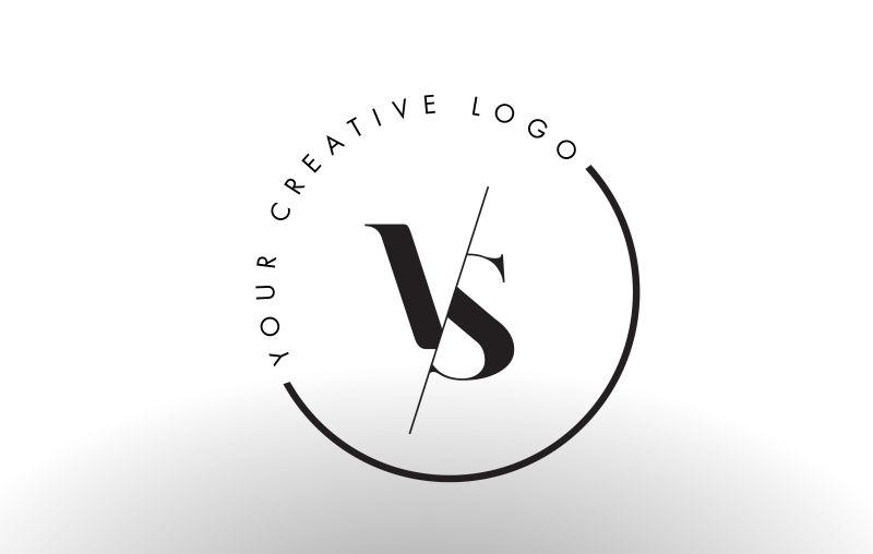 矢量切割风格的字母vs标志设计