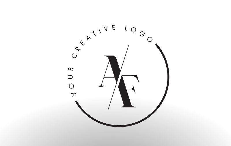 矢量切割风格的字母af标志设计