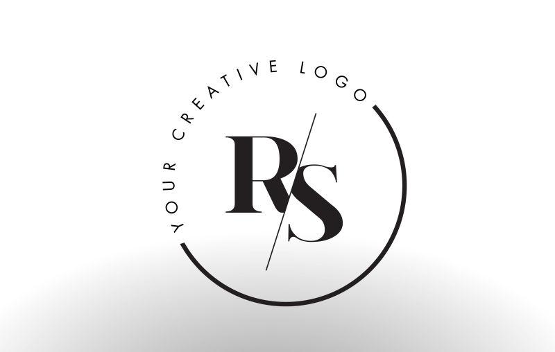 矢量切割风格的字母rs标志设计