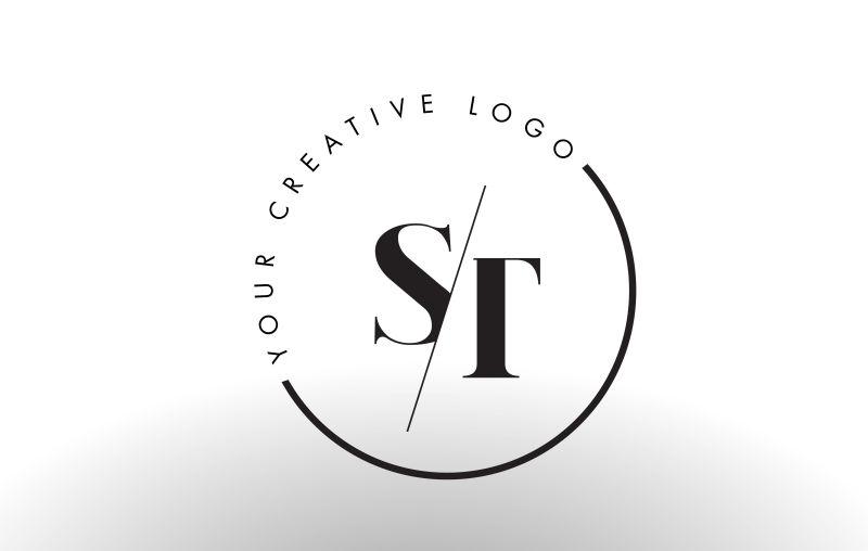 矢量切割风格的字母st标志设计