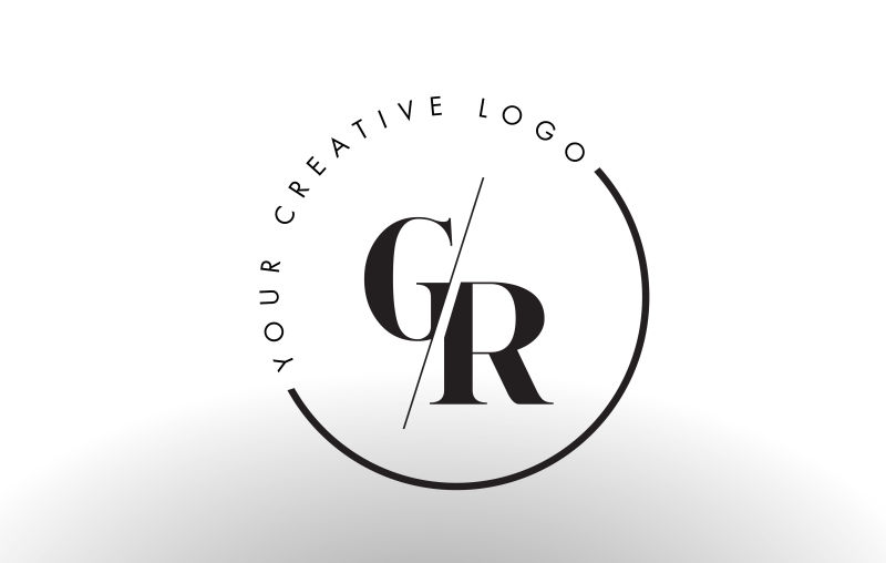 矢量切割风格的字母gr标志设计