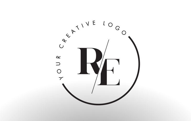 矢量切割风格的字母re标志设计