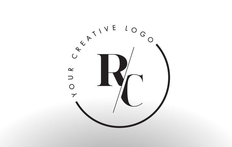 矢量切割风格的字母rc标志设计