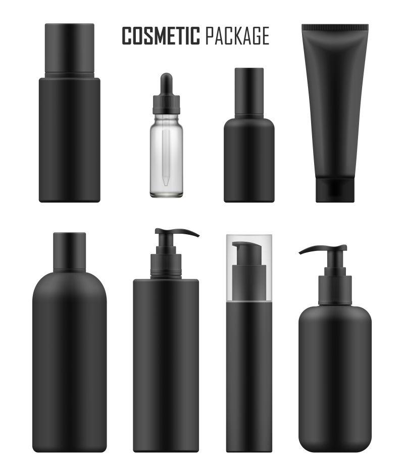 抽象矢量现代黑色包装瓶设计