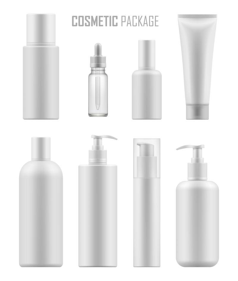 创意矢量现代白色化妆品包装瓶设计