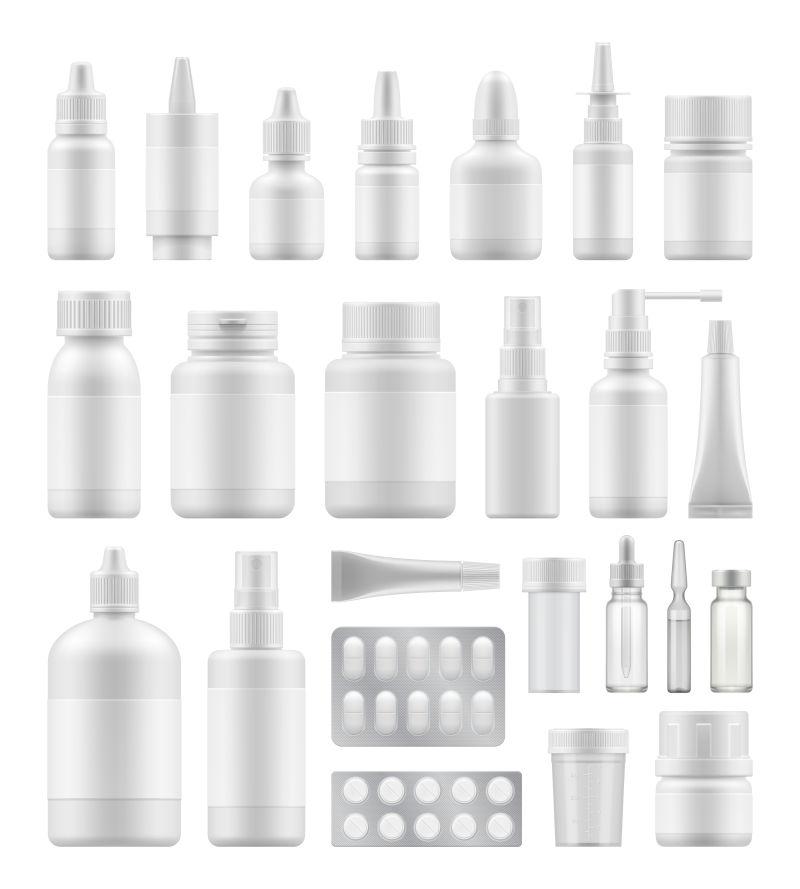 创意矢量现代白色药瓶设计