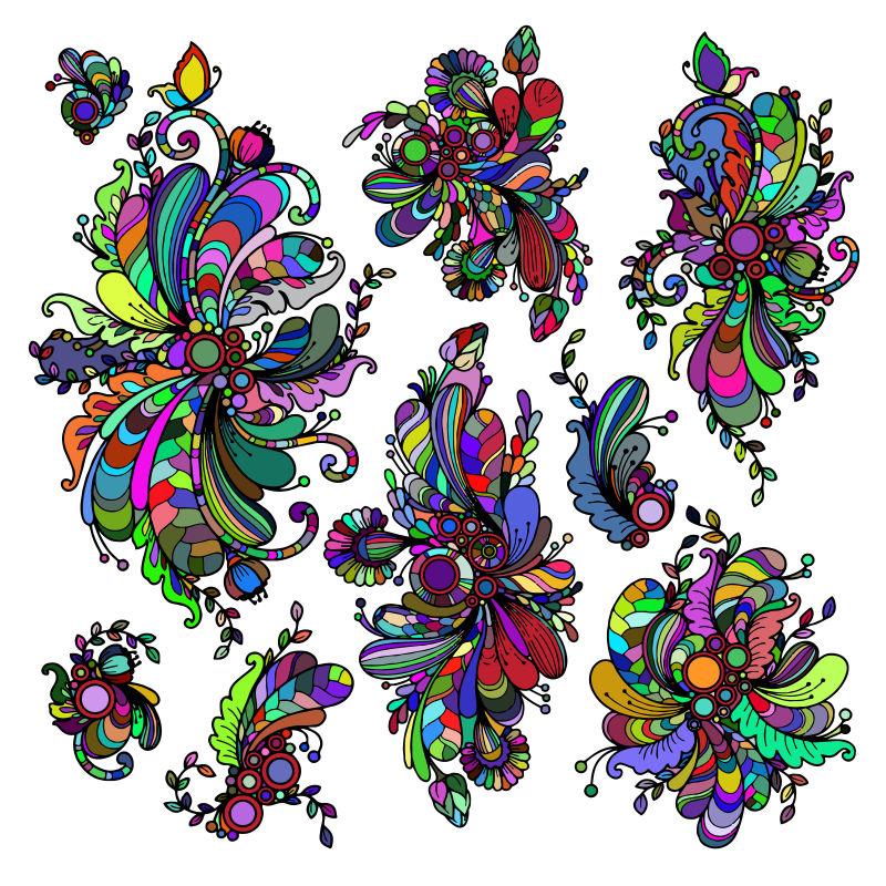 白色背景下的抽象模式集
