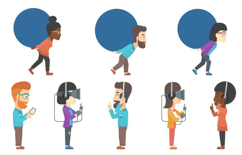 抽象矢量现代创意玩vr的人物插图设计