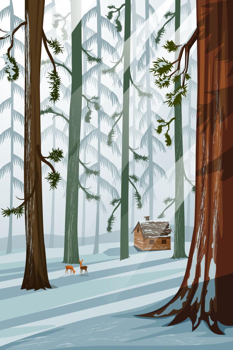 抽象矢量现代冬季森林自然风景插图