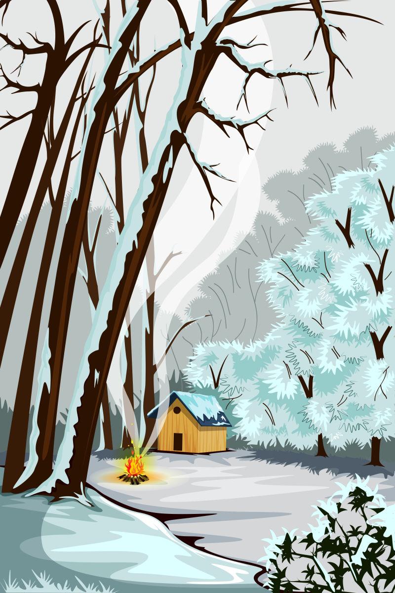 抽象矢量现代冬季森林插图设计