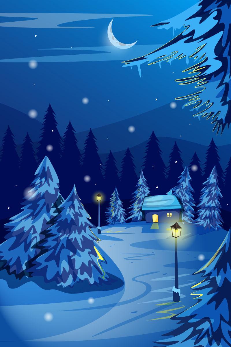 抽象矢量冬季森林卡通插图设计