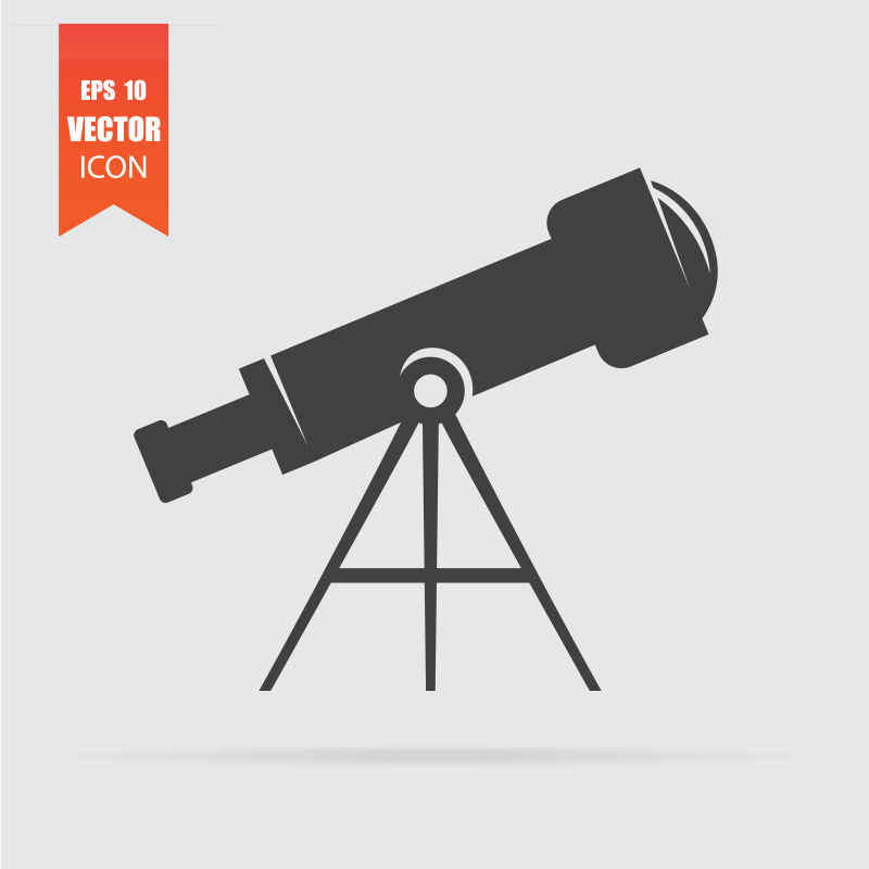 在灰色背景中孤立的平面风格的望远镜图标。