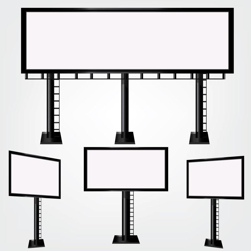 创意矢量现代时尚矩形广告牌设计