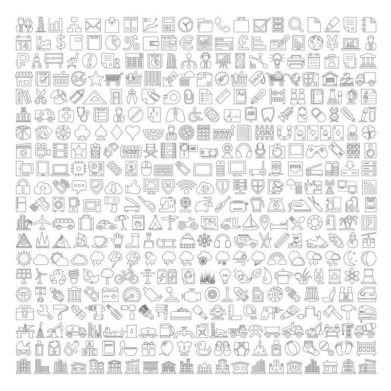 创意矢量现代描线风格的简单图标设计
