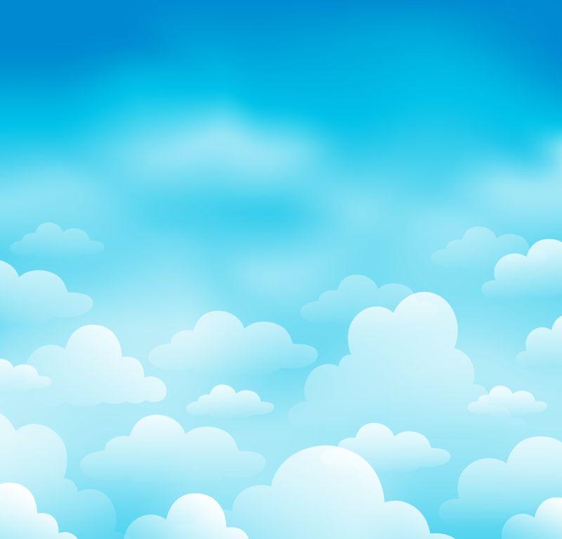 创意矢量现代手绘风格的蓝天白云插图设计