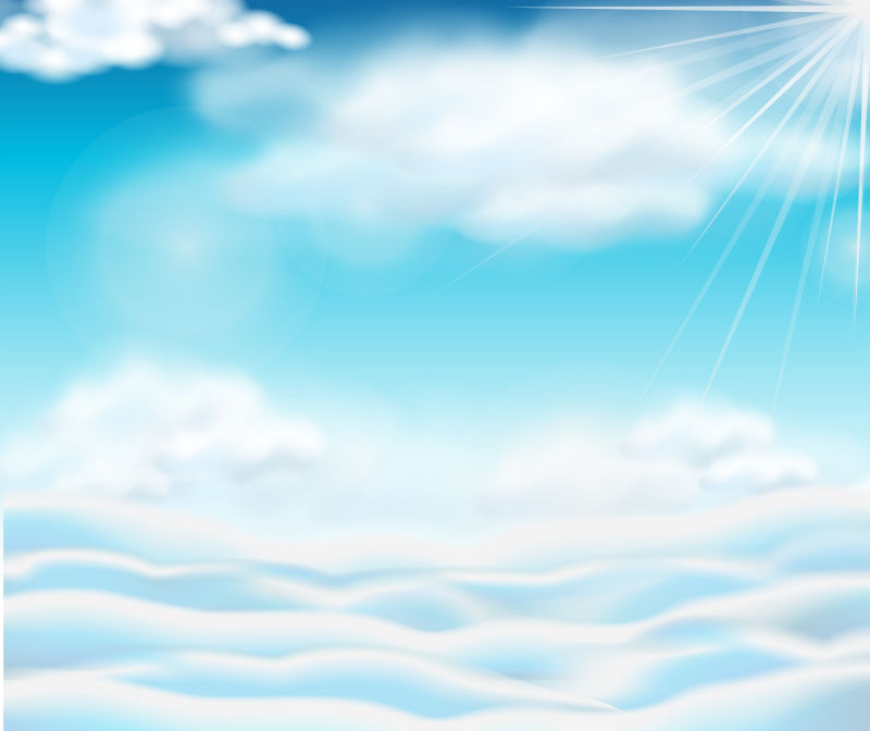 矢量明亮的蓝天白云设计插图