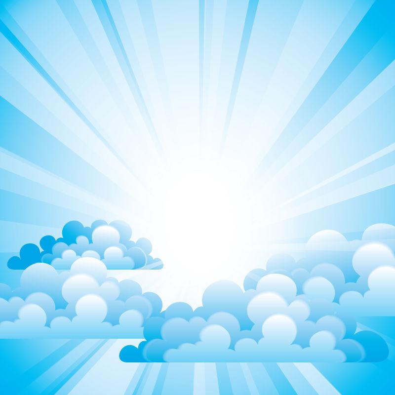 创意矢量现代纸质风格的蓝天白云插图设计