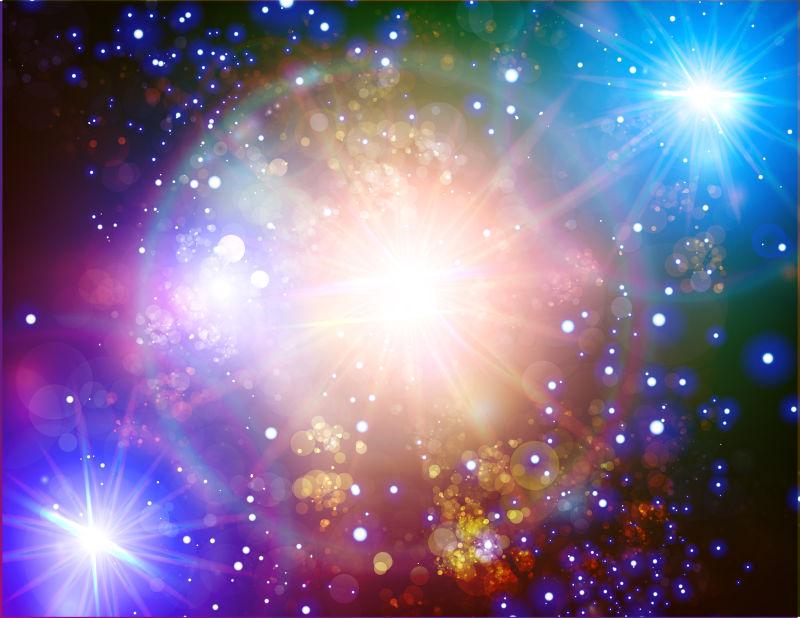 创意矢量彩色星光设计插图