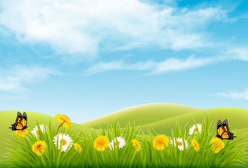 抽象矢量现代春天主题自然背景