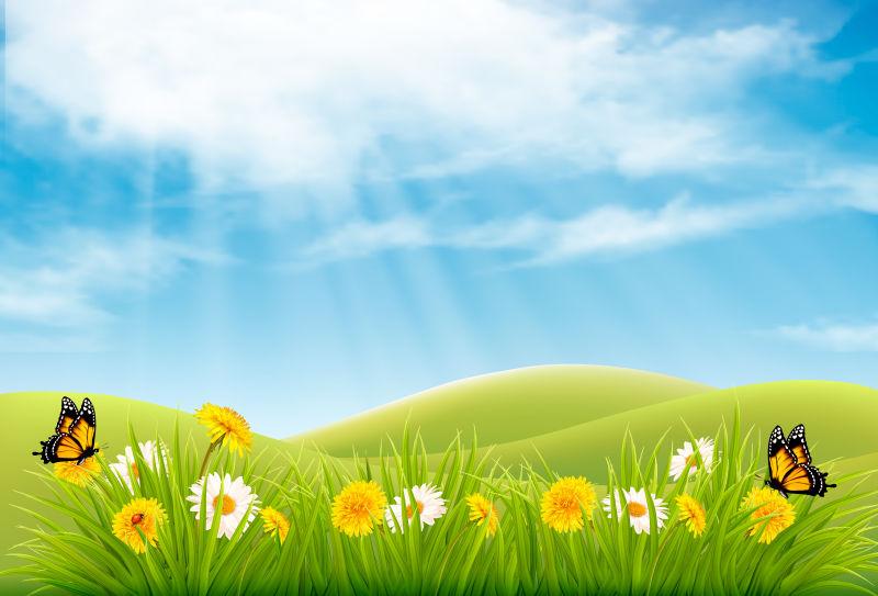 创意矢量美丽的春季自然景观插图设计