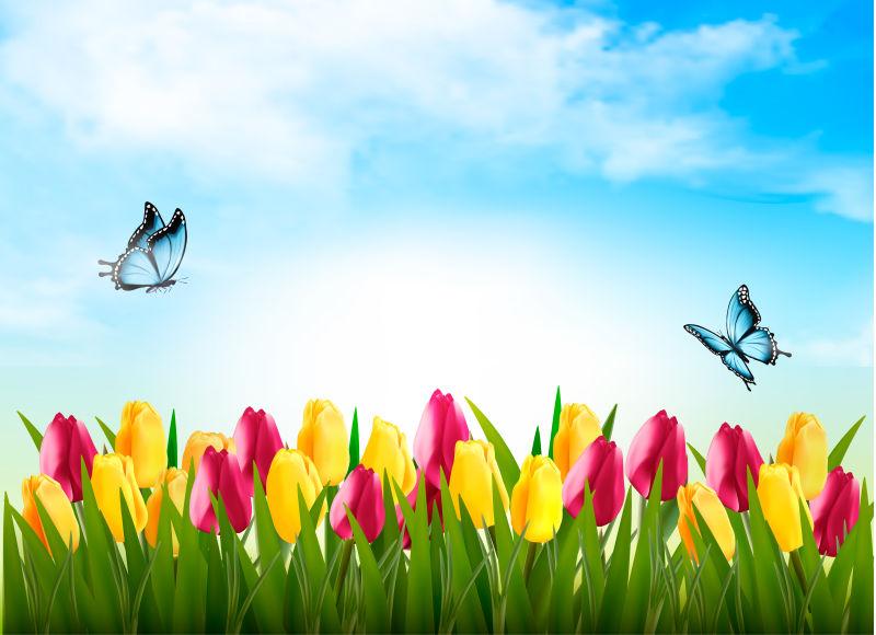抽象矢量现代花卉元素的春天自然背景设计