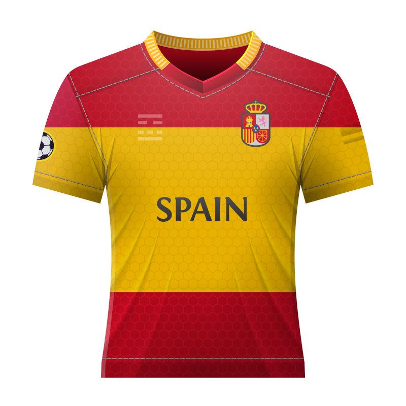 抽象矢量西班牙国家队球衣设计