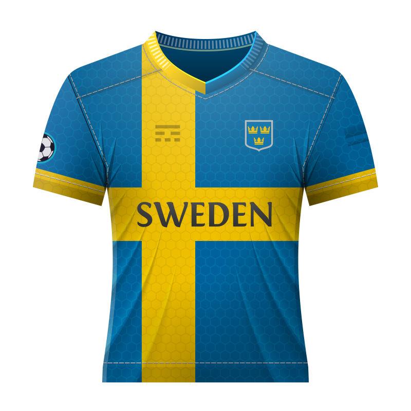 抽象矢量瑞典国家队球衣设计