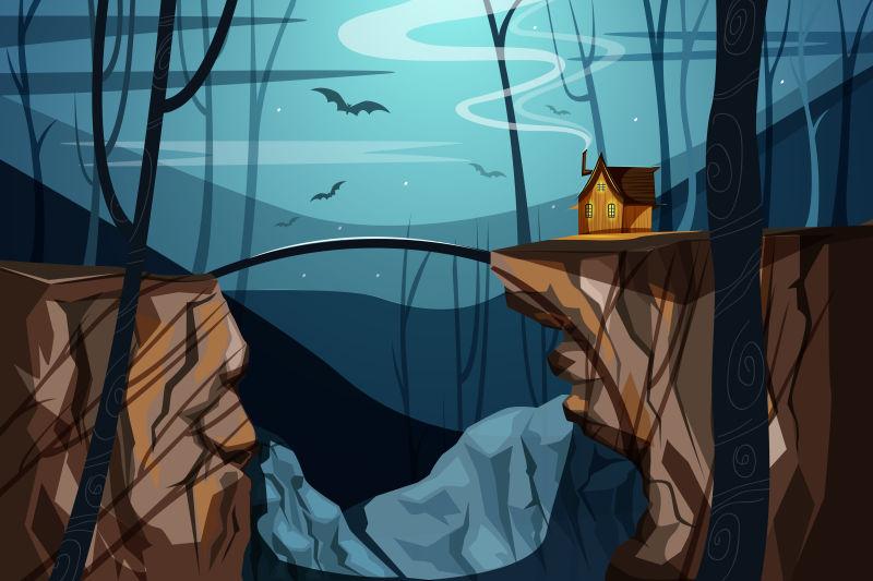 创意矢量现代夜间凄凉的森林插图设计