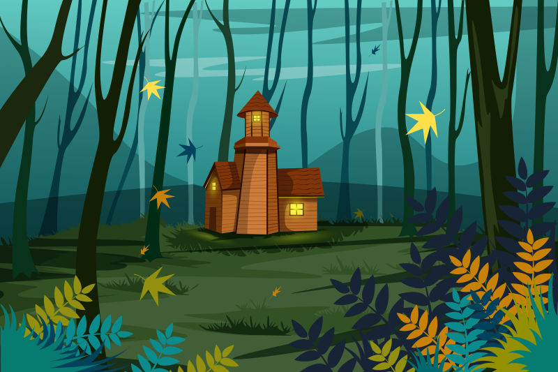 创意矢量现代森林小木屋插图设计