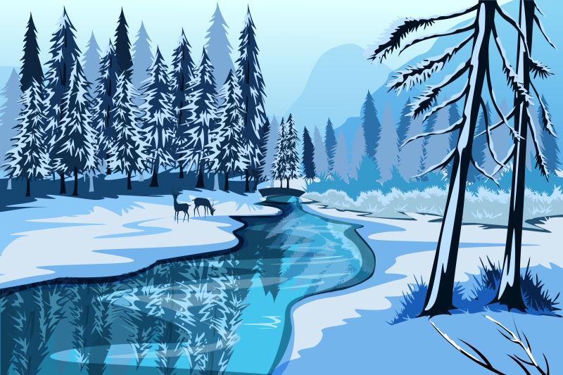 抽象矢量现代雪地中的森林插图设计