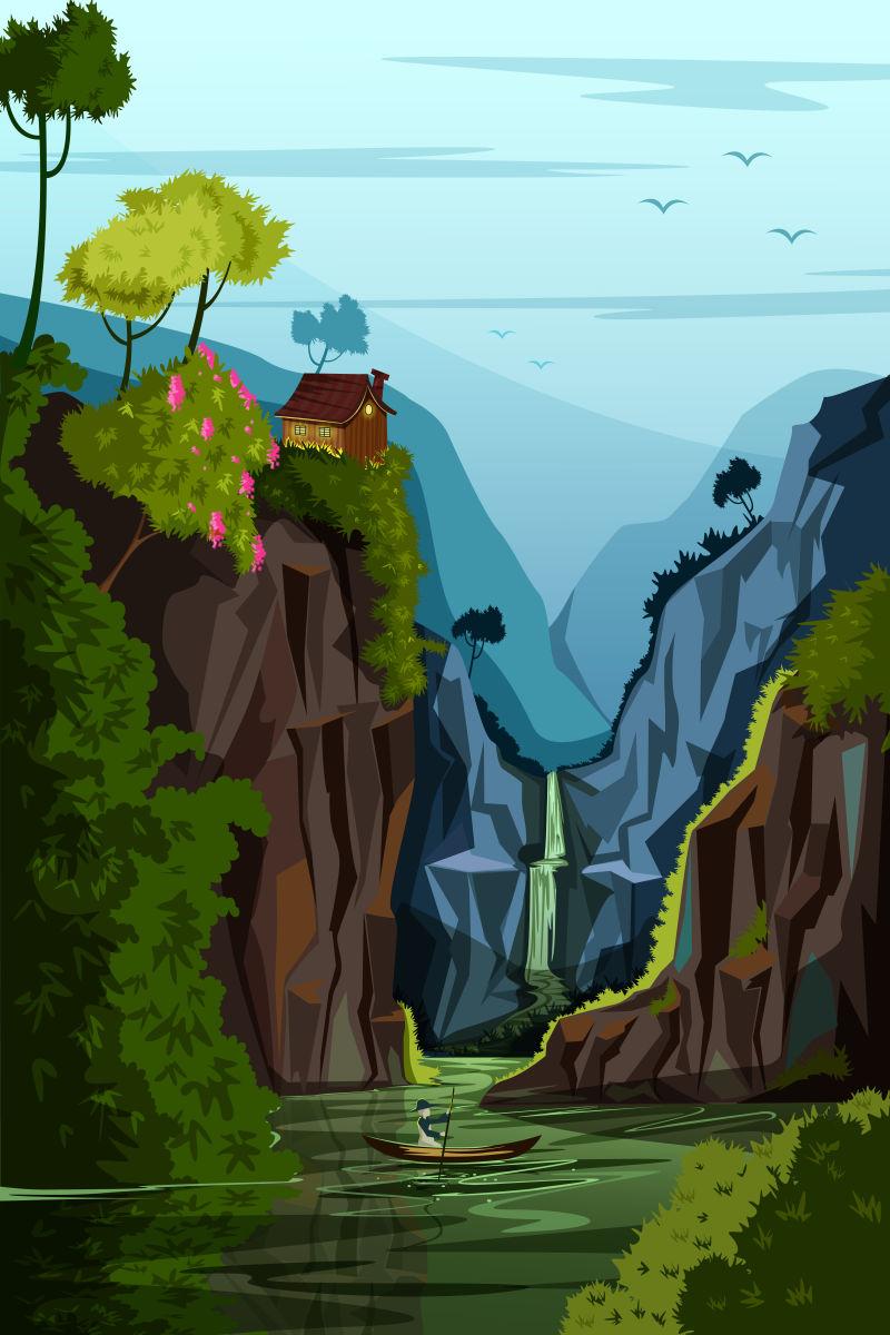 创意矢量现代自然森林景色插图