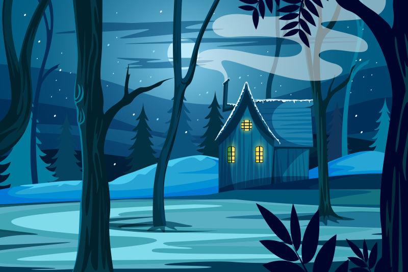 创意矢量现代冬季中的森林小屋插图设计