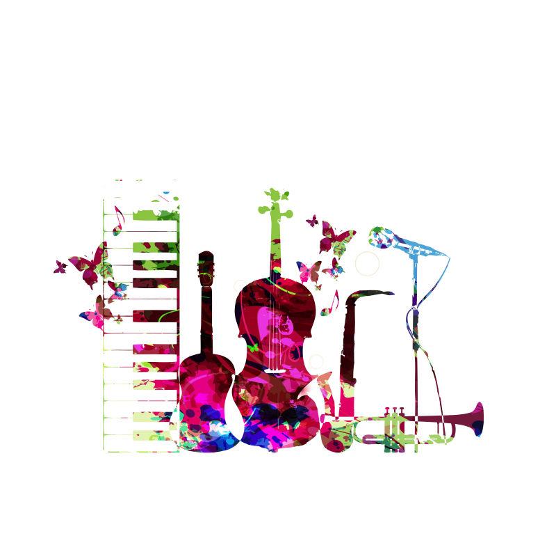 彩色乐器孤立矢量插图。钢琴键盘,吉他,喇叭,麦克风,萨克斯管和小提琴。音乐背景。分离乐器