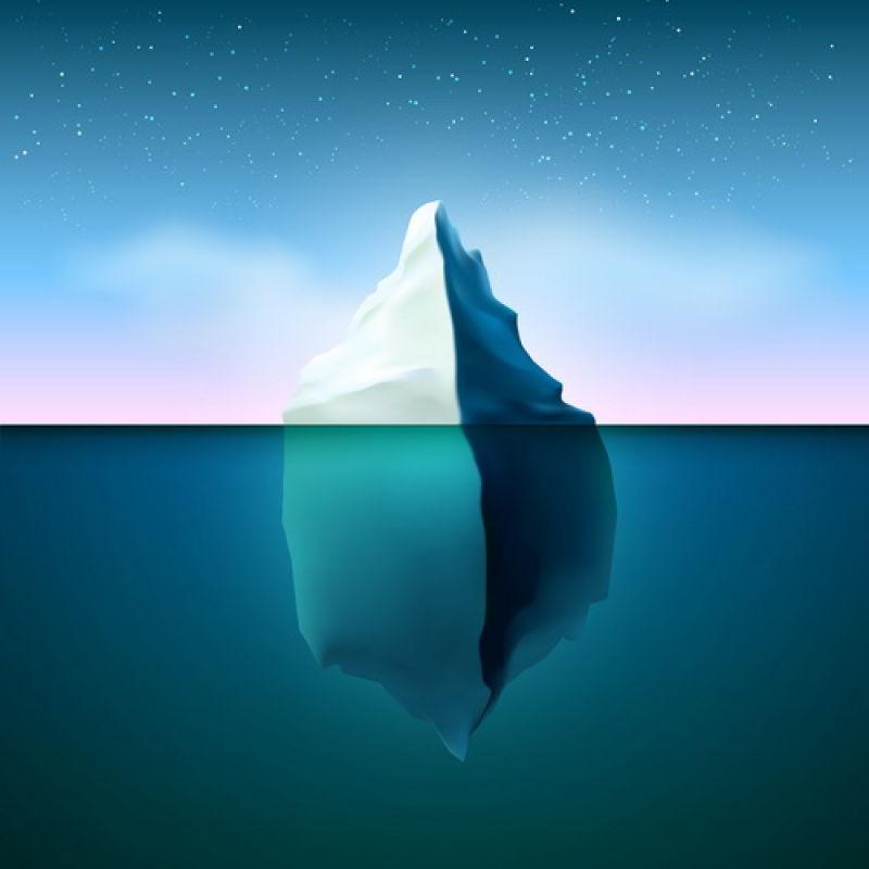 抽象矢量现代露出海面的冰山插图设计