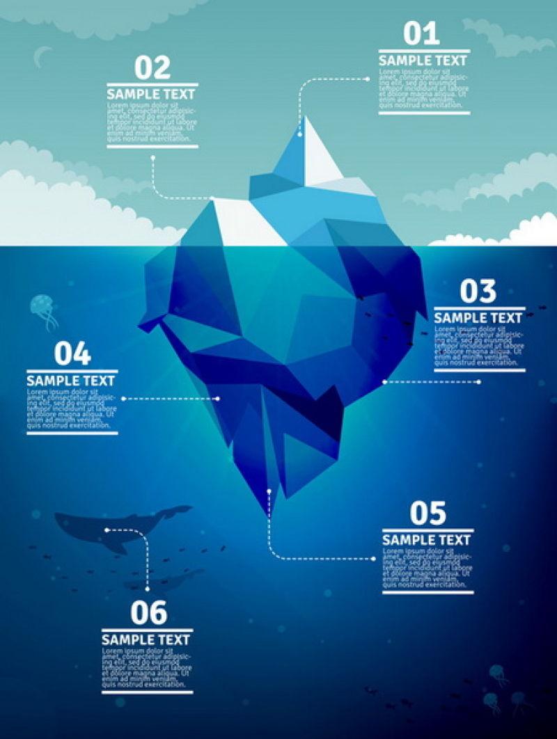 抽象矢量现代几何风格海上冰山插图设计
