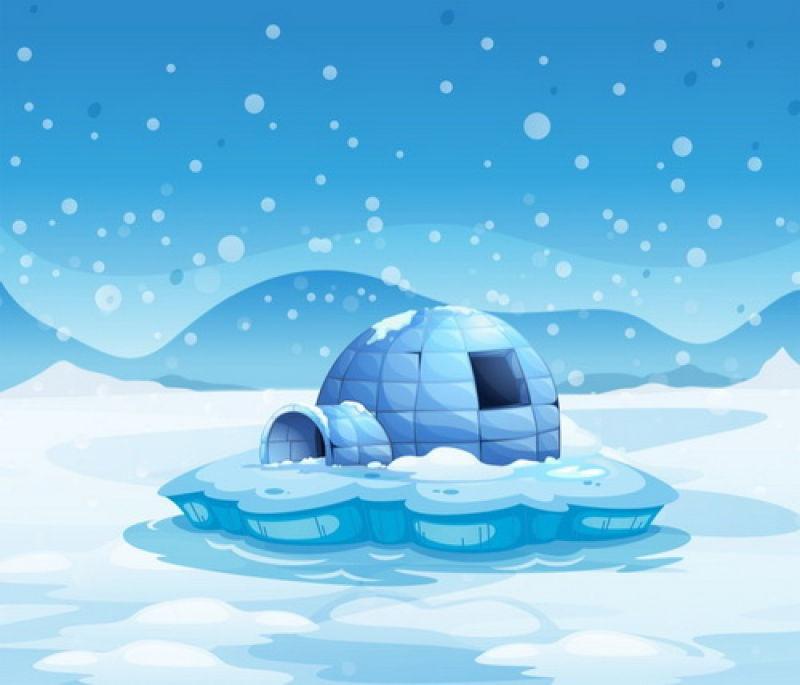 抽象矢量冰面漂浮的冰屋插图设计