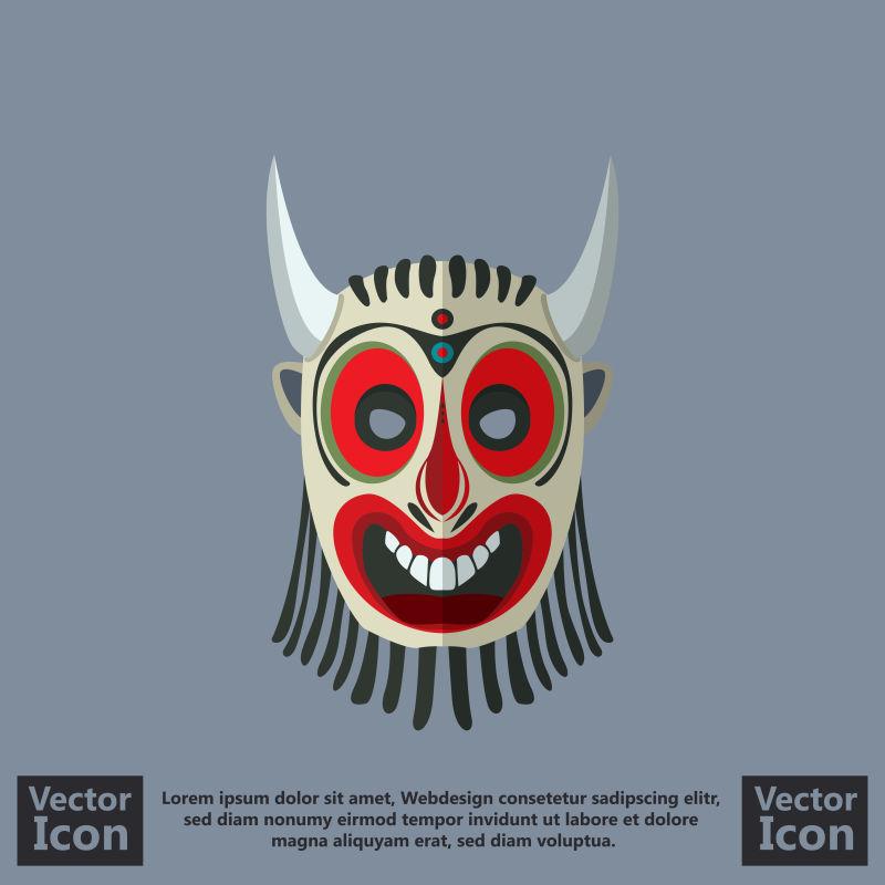 抽象矢量卡通部落面具创意设计