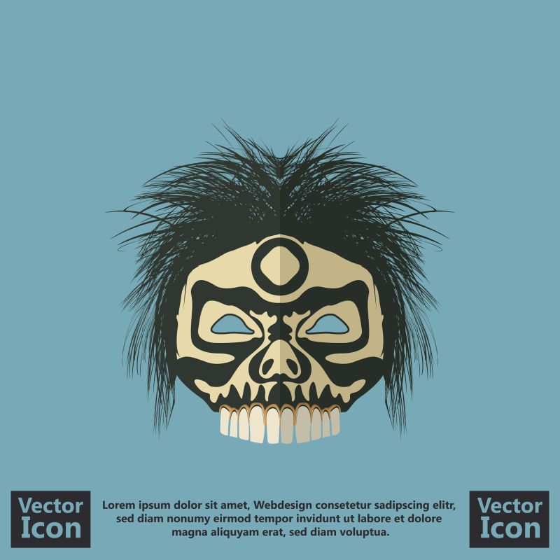 创意矢量卡通风格的民族面具设计