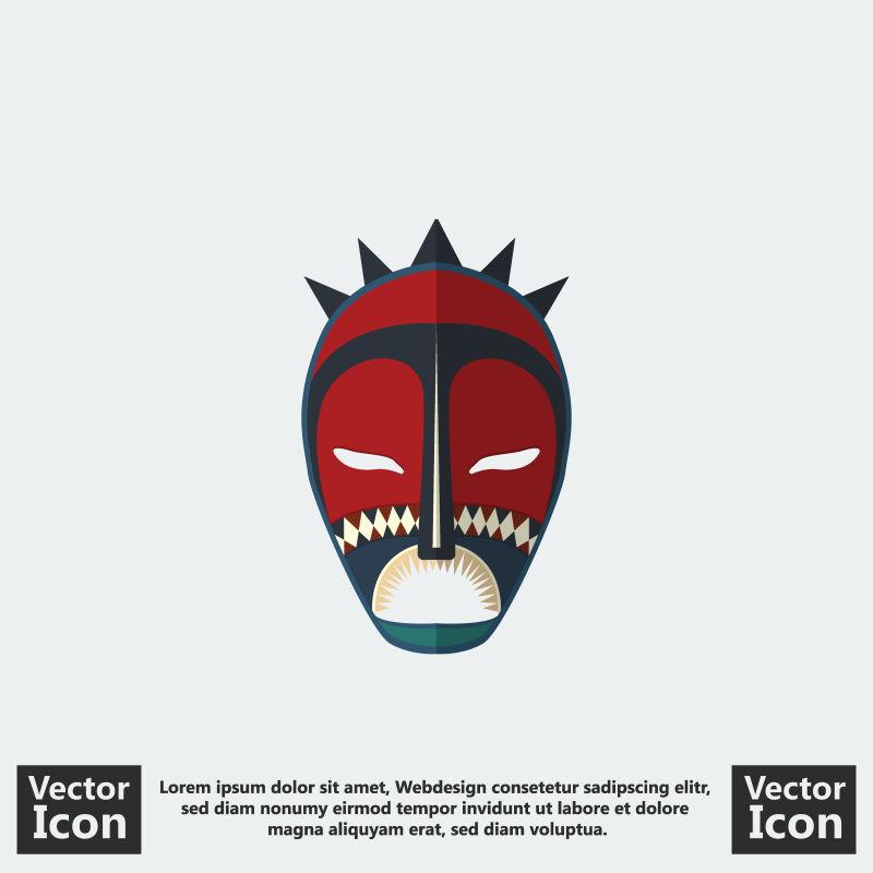 矢量抽象现代部落面具设计插图