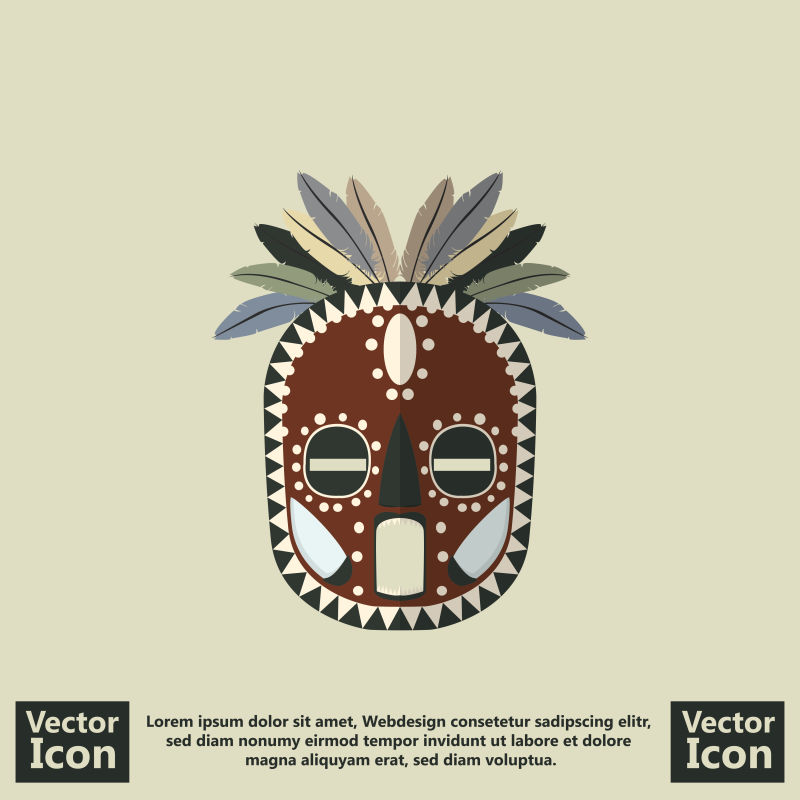 创意矢量现代平面部落面具设计