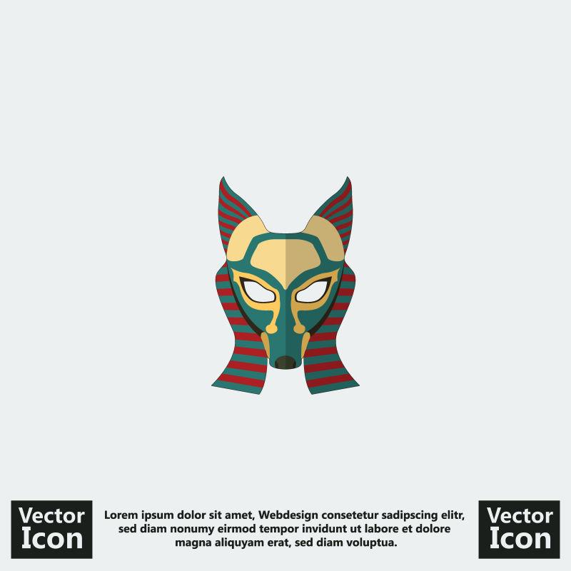抽象矢量卡通埃及风格的部落面具设计