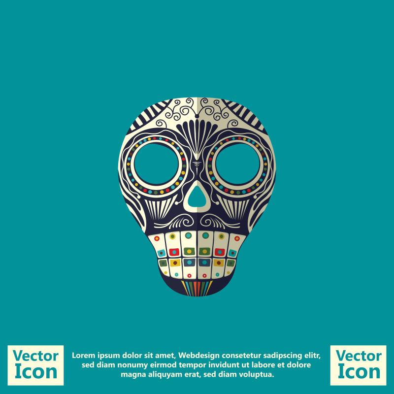 抽象矢量现代墨西哥风格的部落面具设计