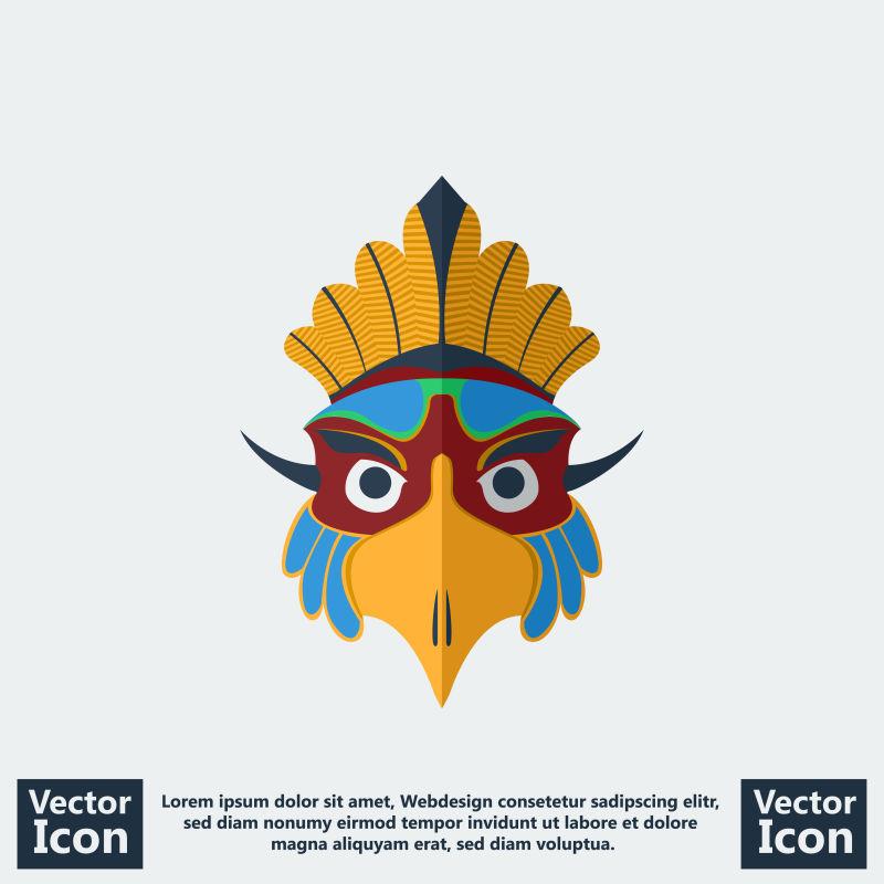 创意矢量老鹰风格的部落面具设计
