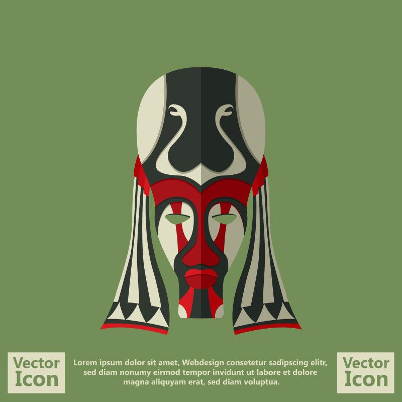 抽象矢量现代卡通部落面具设计插图