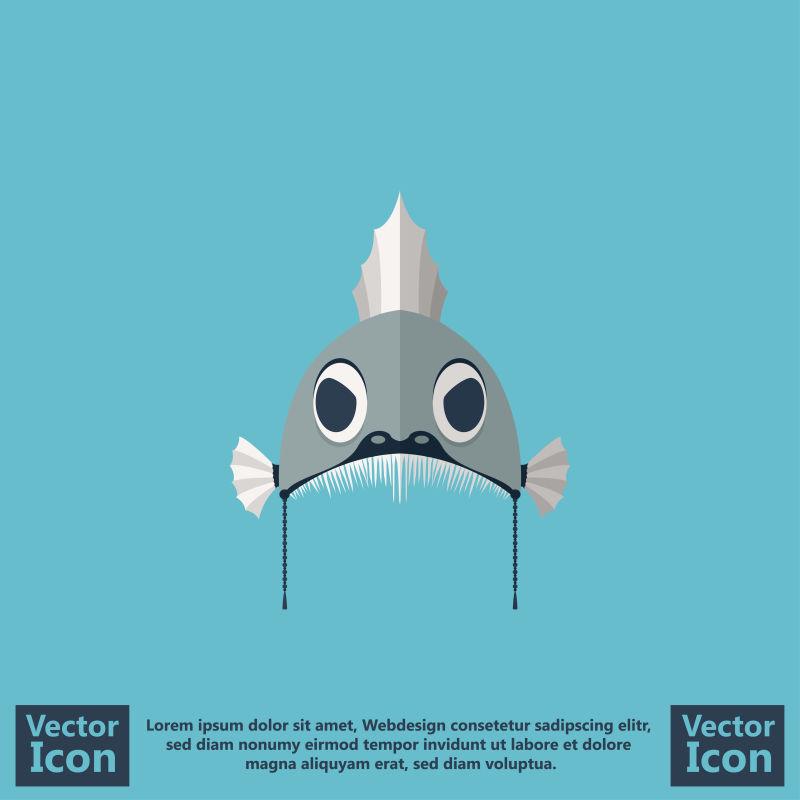 抽象矢量现代鱼元素的面具设计