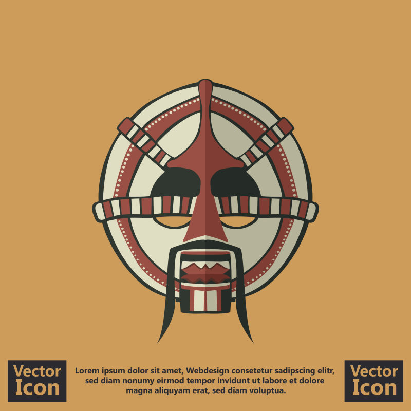 抽象矢量现代卡通部落面具平面设计