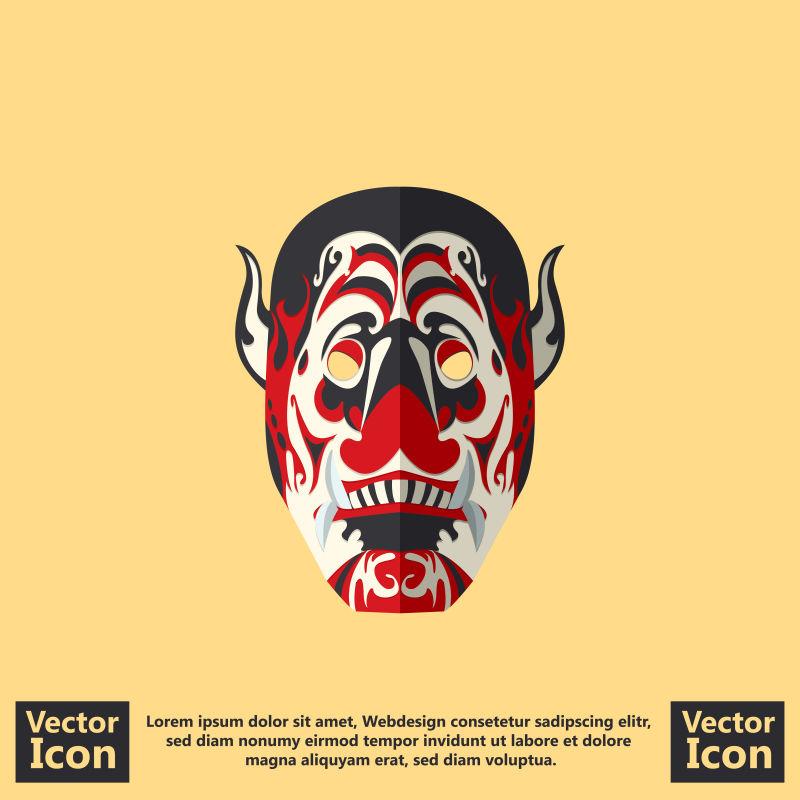 抽象矢量彩色部落面具设计
