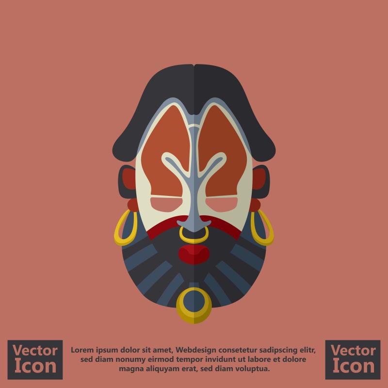 抽象矢量部落面具卡通插图设计