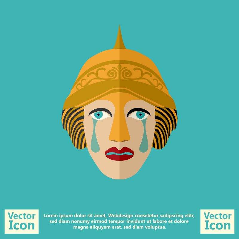 抽象矢量卡通民族风格的面具设计